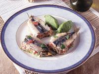 Faszerowane sardele po rybacku z puree z cukinii