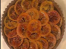Tarta czekoladowa z czerwonymi pomarańczami