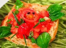 Bruschetta z pomidorami i grillowaną papryką