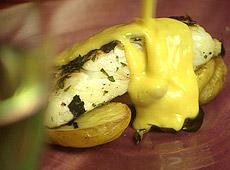 Filety z halibuta z pieczonymi ziemniakami petera gordona