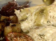 Pieczona żabnica z rozmarynem i czosnkiem