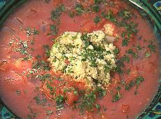 Chłodnik pomidorowy z kuskusem