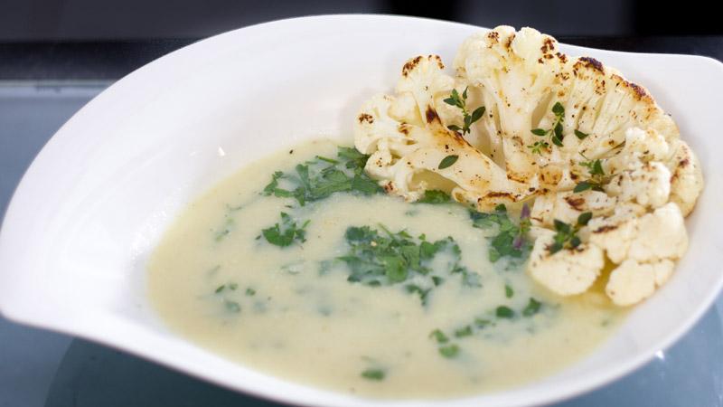Zupa selerowa z carpaccio z kalafiora
