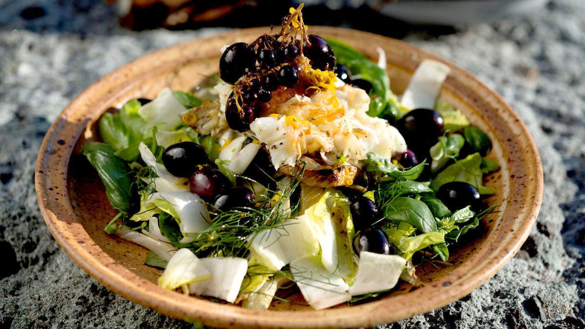 Sałatka z langusty, fenkułu i winogron