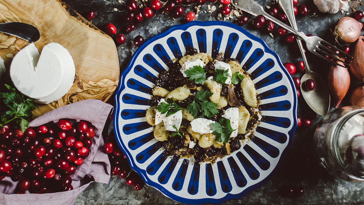 Gnocchi z grzybami, żurawiną i ricottą