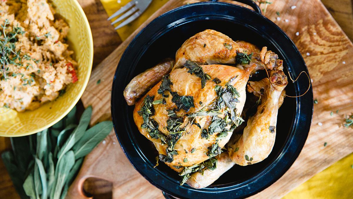 Kurczak pieczony w szałwii
