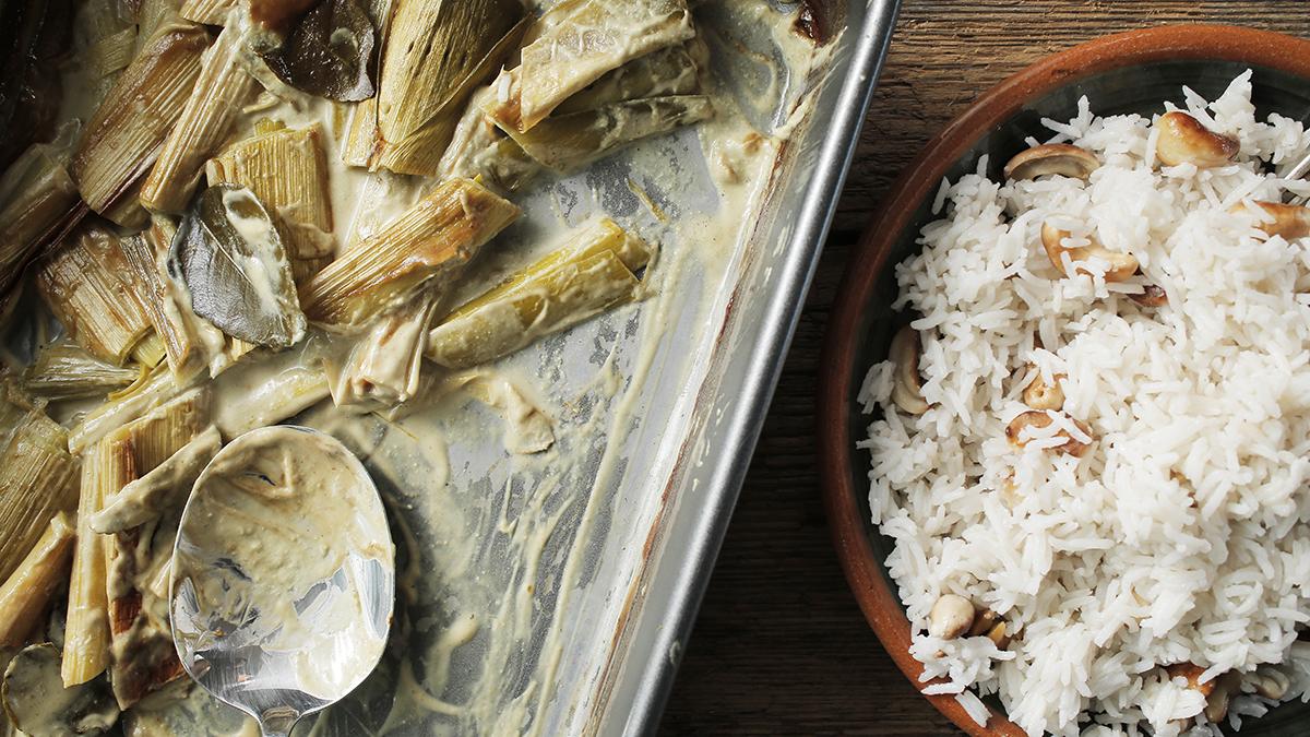 Pory zapiekane w sosie curry