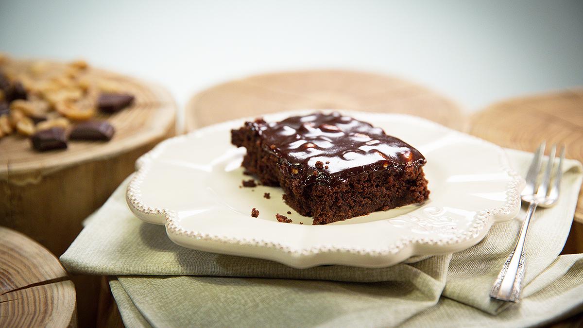 Brownie z masą czekoladowo-karmelową