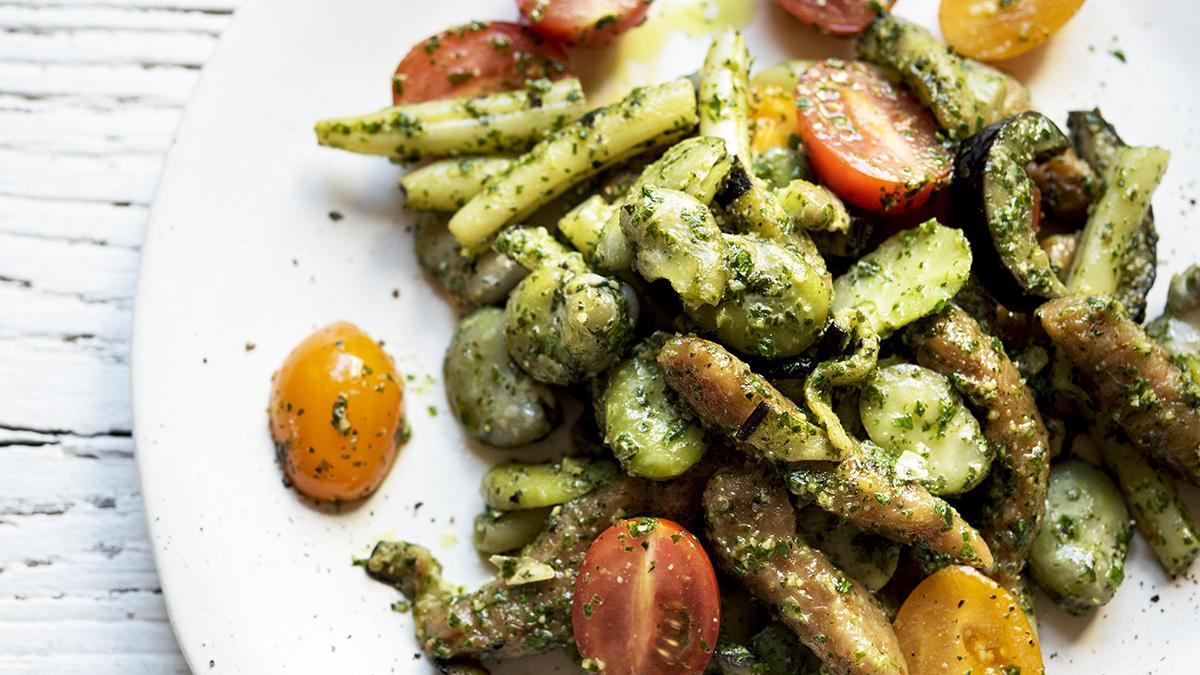 Kluski pomidorowe z warzywami