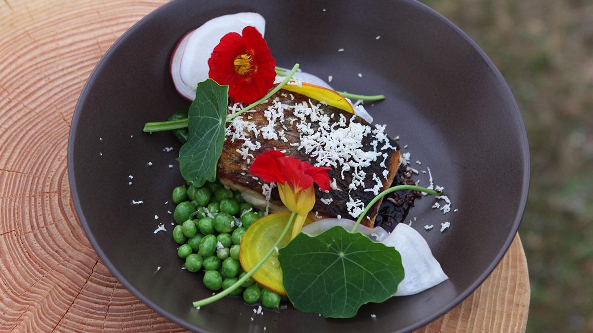 Ryba smażona na słoninie z sosem z redukcji winnej