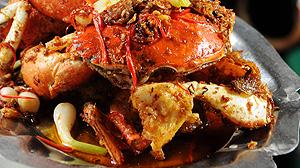 Krab z woka z ostrym sosem saté